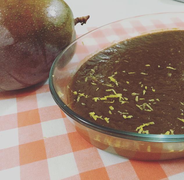 Manjar moreno de mango y limón